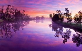 Обои небо, закат, отражение, река