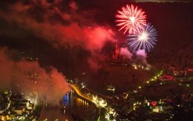 Картинка салют, город, дома, фото, Cochem, ночь, Германия