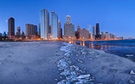 Картинка США, город, дома, Иллиноис, пляж, вечер, Чикаго