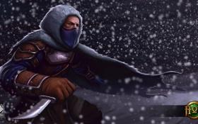 Картинка снег, маска, арт, нож, капюшон, Heroes of Newerth, Nomad