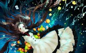 Картинка карты, пузыри, Девушка, галстук, фрукты