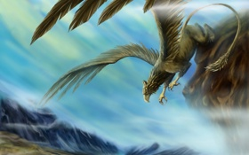 Картинка облака, скала, вид, крылья, существо, арт, грифон
