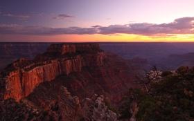 Обои закат, горы, высота, вечер, каньон