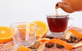 Картинка корица, чашки, чай, апельсин, чайник