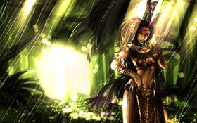 Обои green, light, women, League of legends