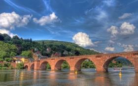 Обои облака, река, небо, hdr, горы, мост
