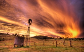 Картинка небо, облака, огонь, пламя, австралия, ферма