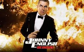 Картинка пистолет, пламя, Rowan Atkinson, смокинг, Роуэн Аткинсон, джонни инглиш перезагрузка, Johnny English Reborn