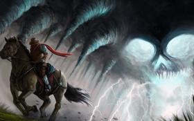 Картинка фантастика, молнии, лошадь, арт, всадник, скачет. чепер