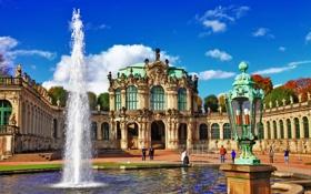 Обои город, здания, Германия, фонтан, Dresden