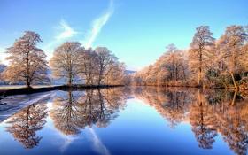 Картинка зима, иней, небо, деревья, закат, река