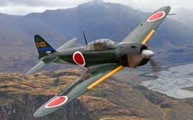 Обои полет, ретро, самолет, ландшафт, истребитель, пилот, Mitsubishi A6M