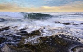 Обои море, вода, камни, волна
