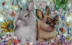 Обои кролики, Alena-Koshkar, бабочки, сирень, rabbits, цветы
