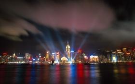 Обои ночь, город, hong kong