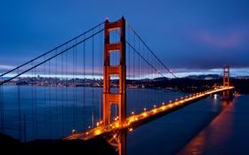 Картинка США, USA, Калифорния, небо, San Francisco, синее, пролив
