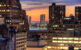 Обои город, здания, дома, Нью-Йорк, небоскребы, вечер, крыши