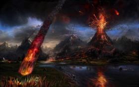 Картинка обломки, лава, извержение вулкана, eruption