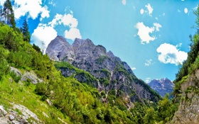 Обои небо, пейзаж, горы, природа, скала, Словения, Bovec