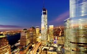 Обои город, огни, здания, Нью-Йорк, небоскребы, вечер, USA