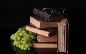 Картинка отражение, стол, книги, очки, виноград, пища для ума