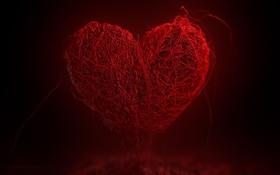 Обои сердце, красное, нити