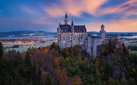 Картинка осень, пейзаж, замок, панорама, Germany, Bavaria, Münich