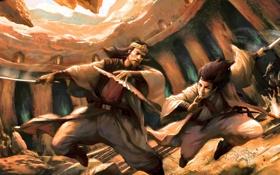 Обои оружие, веер, арт, битва, мужчины, поединок