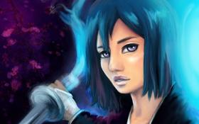 Обои взгляд, девушка, оружие, меч, Bleach, Блич, ветвь
