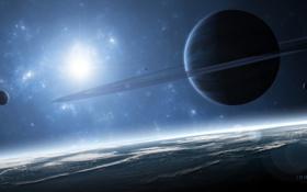 Обои планеты, кольца, спутники, газовый гигант, immersion