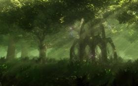 Картинка беседка, таинственный, деревья, светлячки, мистический лес, природа, свет