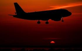 Картинка небо, закат, самолёт, пассажирский