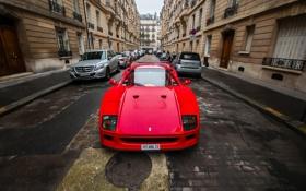Обои город, машины, Ferrari, F40, передок, Red, Supercar
