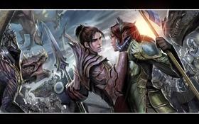 Картинка девушки, драконы, воины