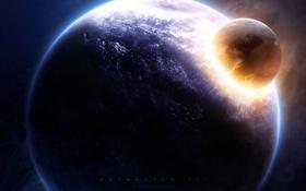 Обои удар, катаклизм, планета, астероид, impact