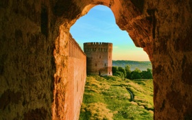 Обои пейзаж, природа, город, стена, обои, башня, окно