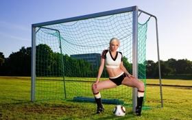 Картинка деревья, газон, футбол, модель, мяч, ворота, блондинка