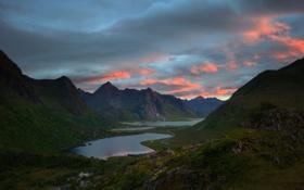 Обои горы, река, vareidet, небо