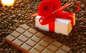 Картинка роза, кофе, шоколад, свеча, коробочка