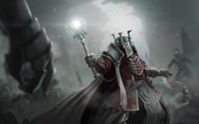 Обои фантастика, жезл, воин, шлем, арт, магия, рыцарь