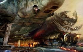 Картинка люди, огонь, транспорт, корабль, арт, Daniel Dociu