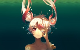 Картинка девушка, пузыри, аниме, арт, под водой, подмигивание, assassinwarrior