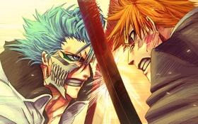 Картинка бой, bleach, Ichigo Kurosaki, anime, art, Grimmjow Jaegerjaques