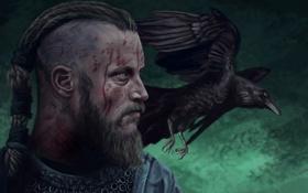 Обои голова, воин, ворон, raven, art, viking, Ragnar Lothbrok