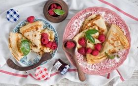 Картинка завтрак, блины с ягодами, джем, утро