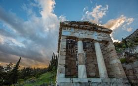 Картинка Греция, склон, колонны, храм, архитектура, Дельфы