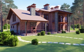 Картинка трава, деревья, дизайн, дом, газон, кирпич, особняк