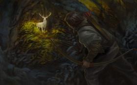 Картинка лес, олень, лук, арт, охотник