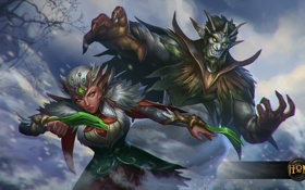 Картинка девушка, монстр, Heroes of Newerth, Riptide, Yuletide, Yuletide Riptide