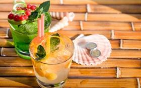 Картинка отпуск, коктейль, фон, стакан